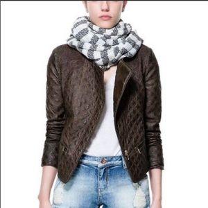 Like new Zara XS boho brown faux leather jacket